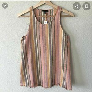 Drew Anthropologie Striped raw hem blouse S